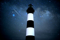 Lyrid Meteor over Bodie Island Lighthouse